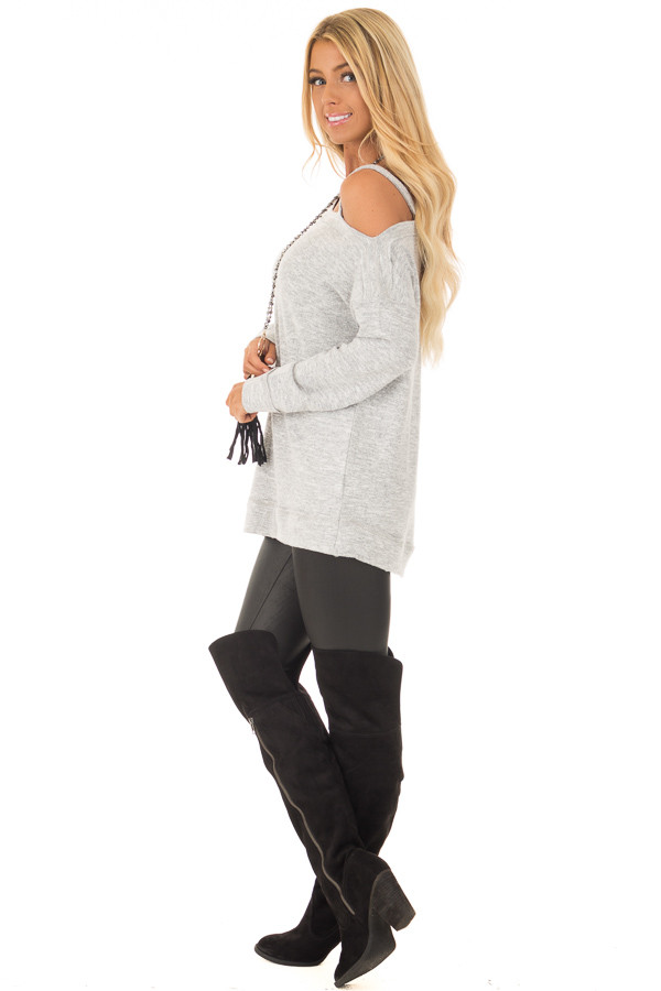 Heather Grey Two Tone Cold Shoulder Sweater side full body