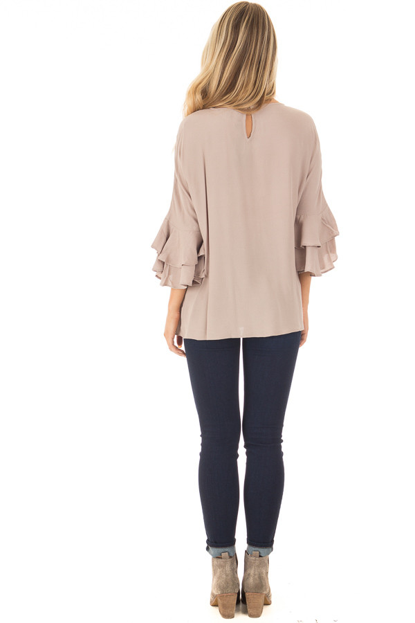 Dove Blouse with Tiered Flare Sleeves back full body