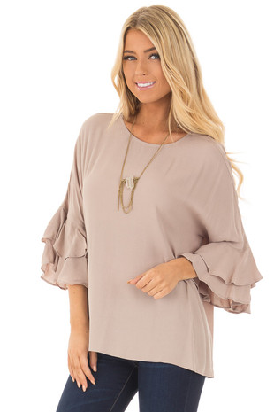 Dove Blouse with Tiered Flare Sleeves front close up