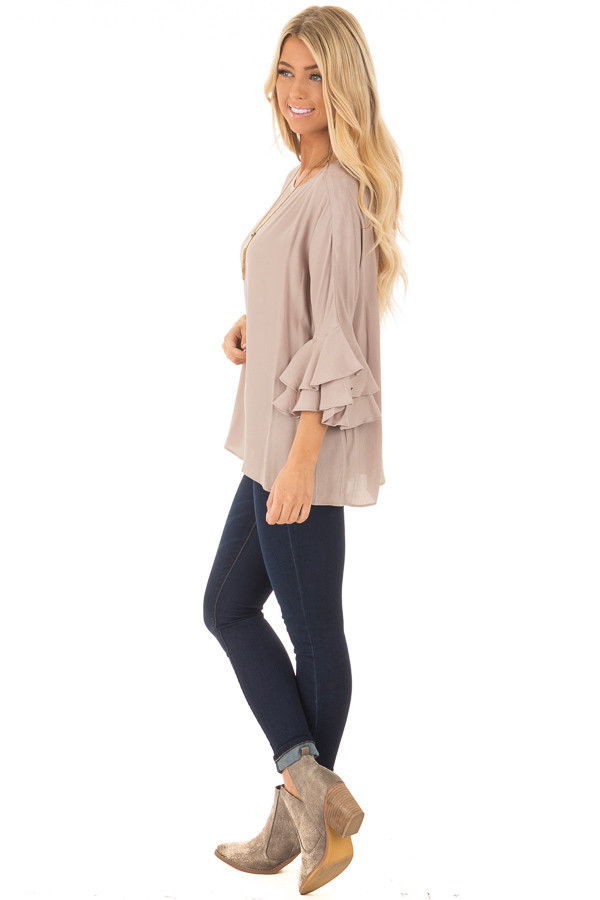 Dove Blouse with Tiered Flare Sleeves side full body