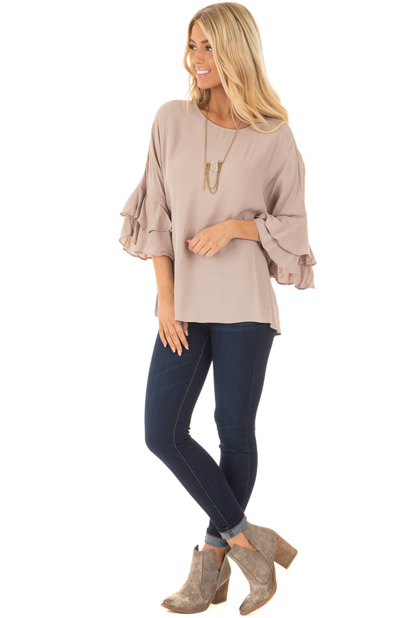 Dove Blouse with Tiered Flare Sleeves front full body
