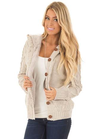 Taupe Cable Knit Button Up Sweater with Faux Fur Lining front close up