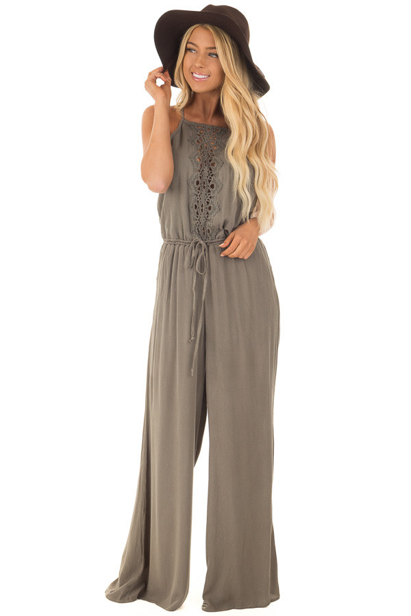 Olive Jumpsuit with Sheer Crochet Details front full body