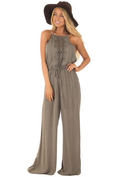 Olive Jumpsuit with Sheer Crochet Details front close up