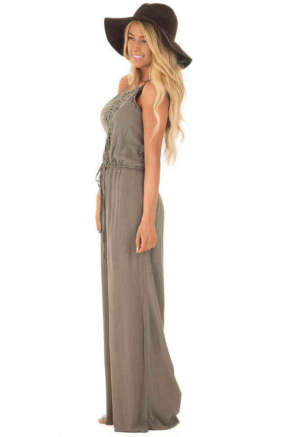 Olive Jumpsuit with Sheer Crochet Details side full body