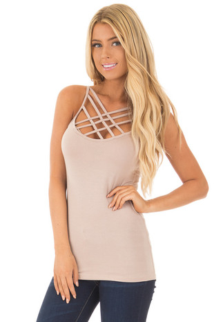 Taupe Reversible Criss Cross Tank Top front close up