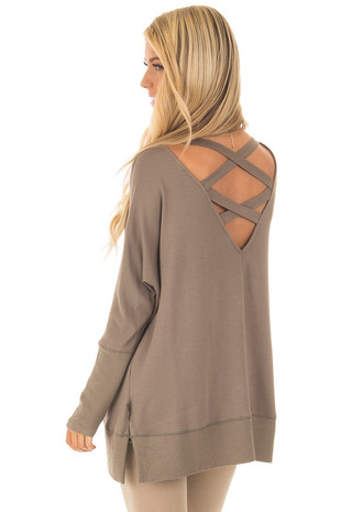 Olive Long Sleeve Sweater with Back Details back side close up