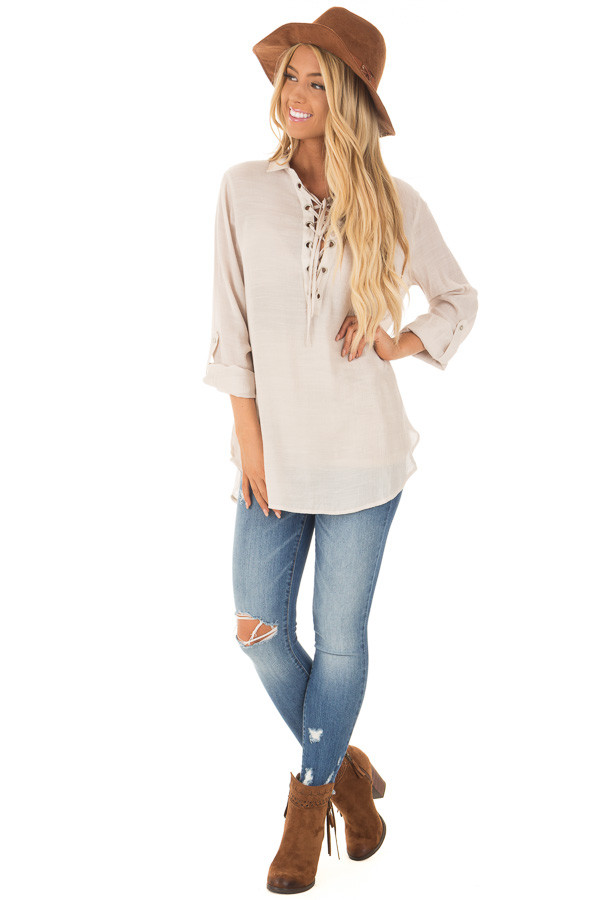 Champagne Lace Up Long Sleeve Blouse front full body