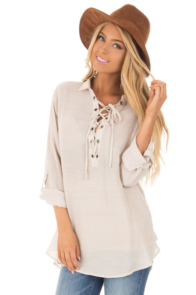Champagne Lace Up Long Sleeve Blouse front close up