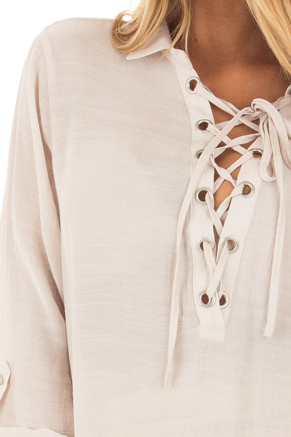 Champagne Lace Up Long Sleeve Blouse detail