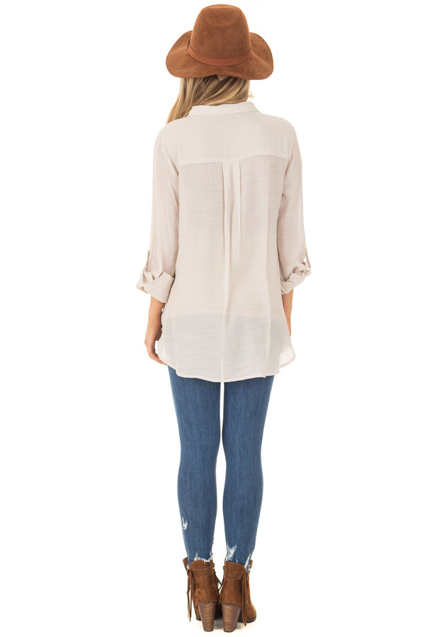 Champagne Lace Up Long Sleeve Blouse back full body
