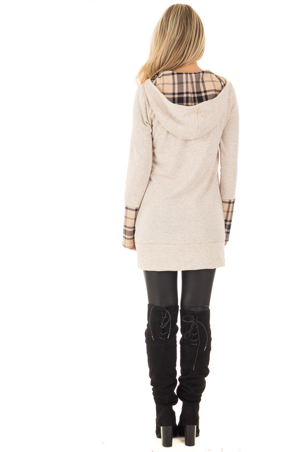 Oatmeal Hoodie with Plaid Accent Cuffs and Hood back full body