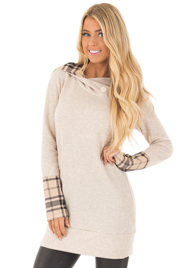 Oatmeal Hoodie with Plaid Accent Cuffs and Hood front close up