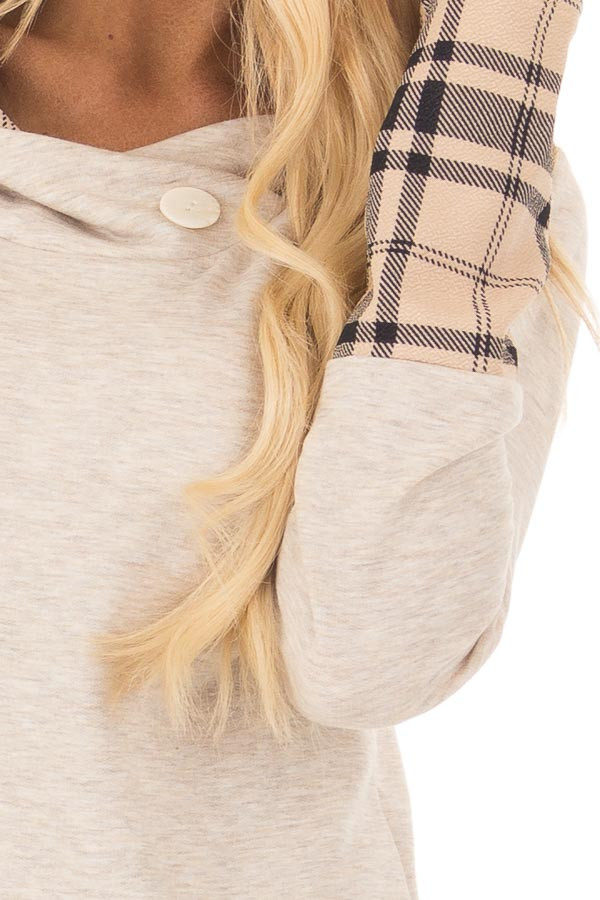 Oatmeal Hoodie with Plaid Accent Cuffs and Hood detail