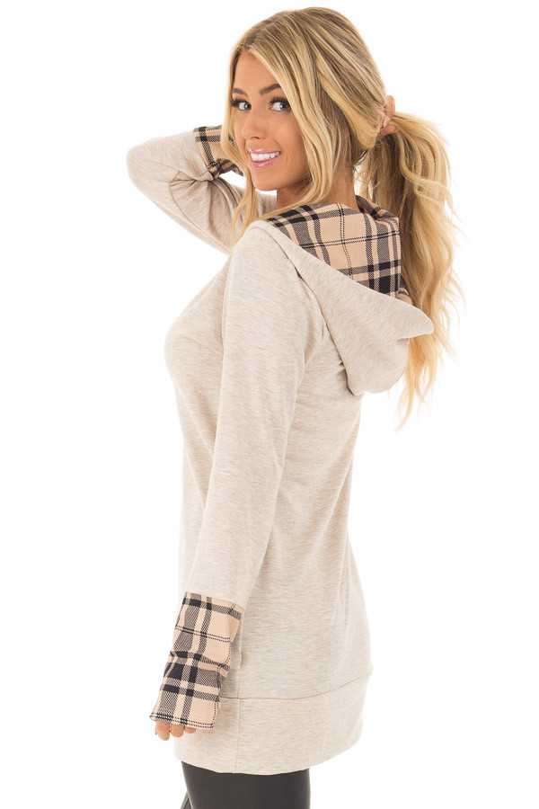 Oatmeal Hoodie with Plaid Accent Cuffs and Hood side close up