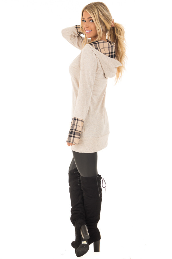 Oatmeal Hoodie with Plaid Accent Cuffs and Hood side full body