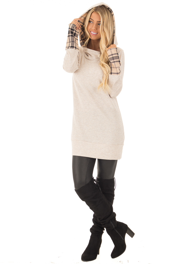 Oatmeal Hoodie with Plaid Accent Cuffs and Hood front full body