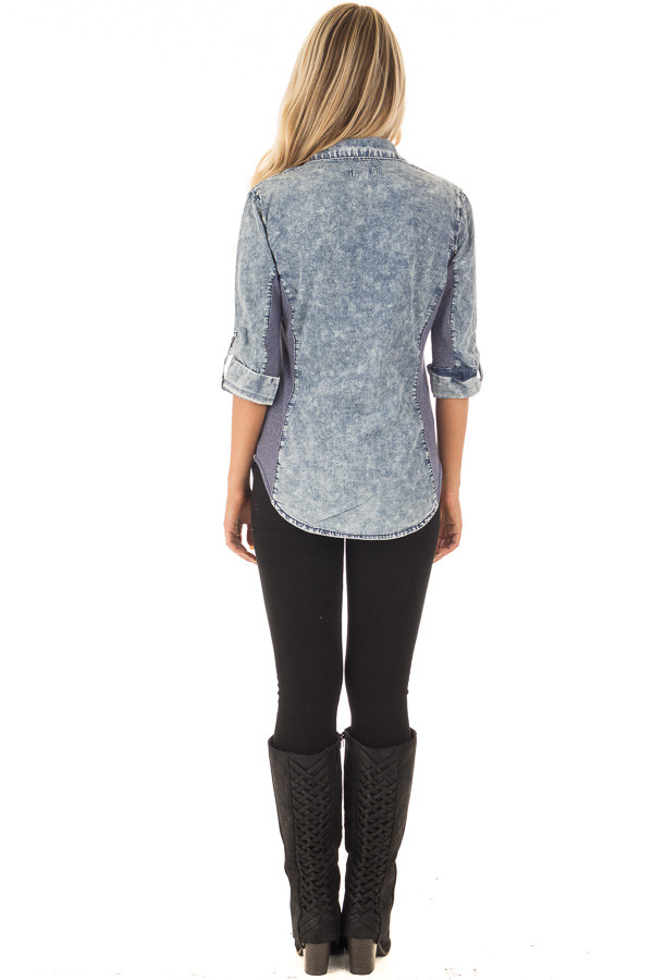Denim Acid Wash Blouse with Knit Contrast back full body