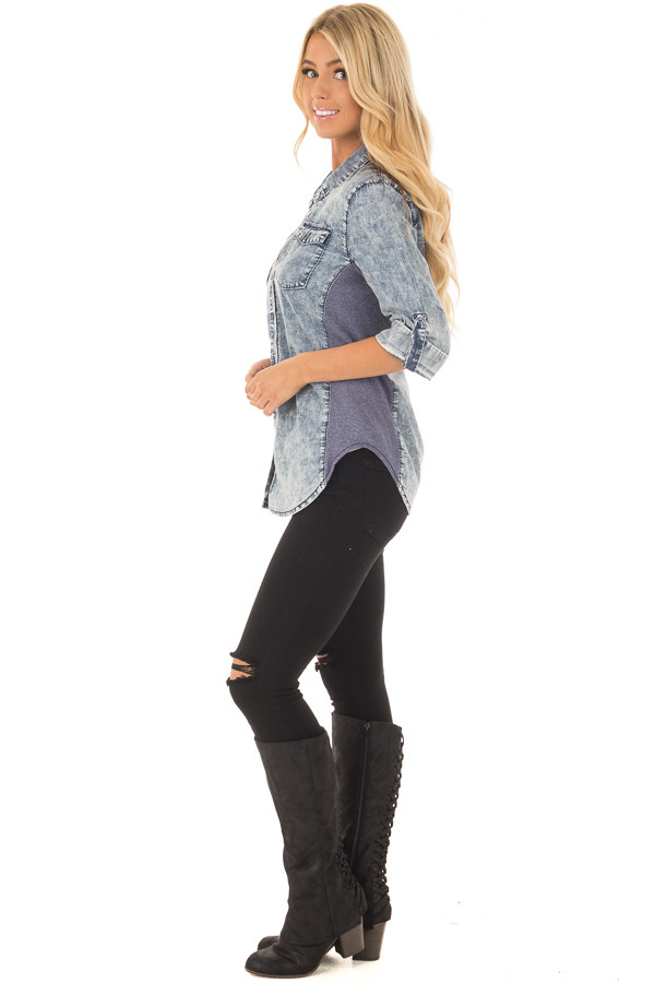 Denim Acid Wash Blouse with Knit Contrast side full body