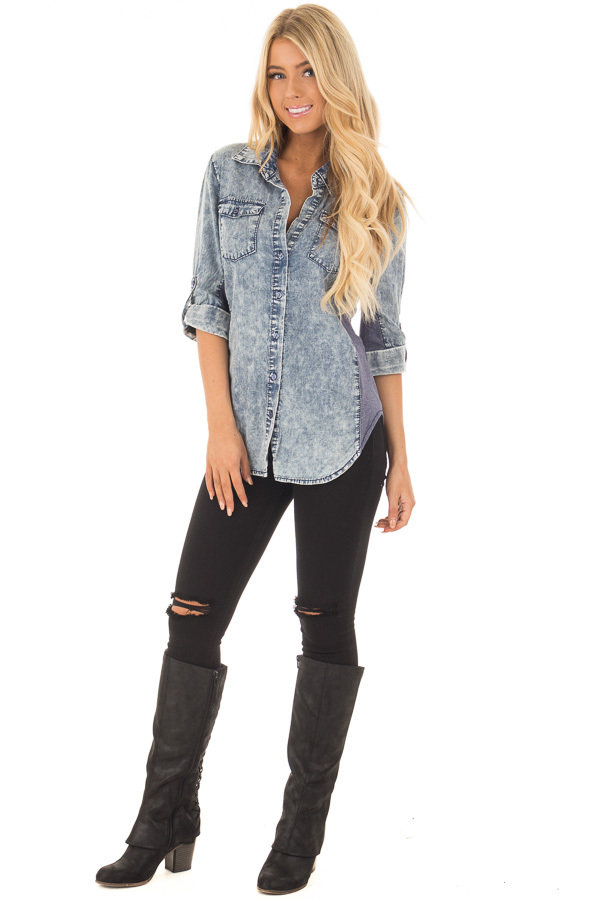 Denim Acid Wash Blouse with Knit Contrast front full body
