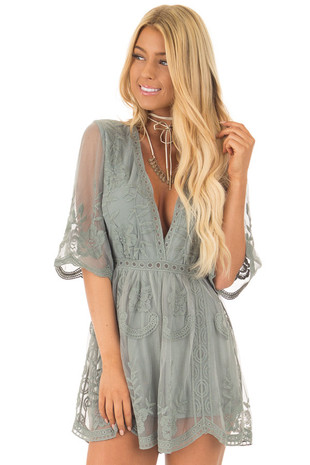 Sage Romper with Floral Lace Details front close up