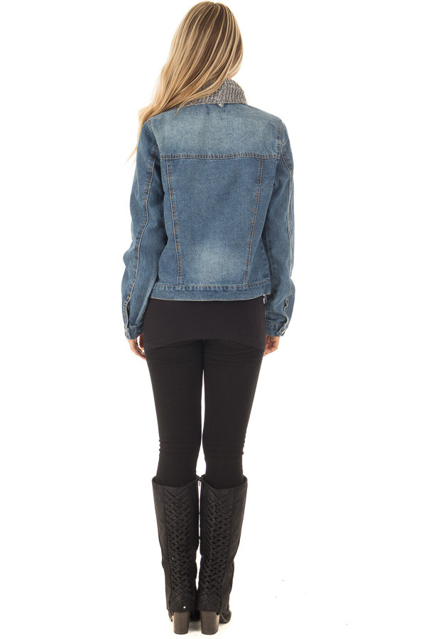 Denim Jacket with Sweater Contrast Neckline back full body