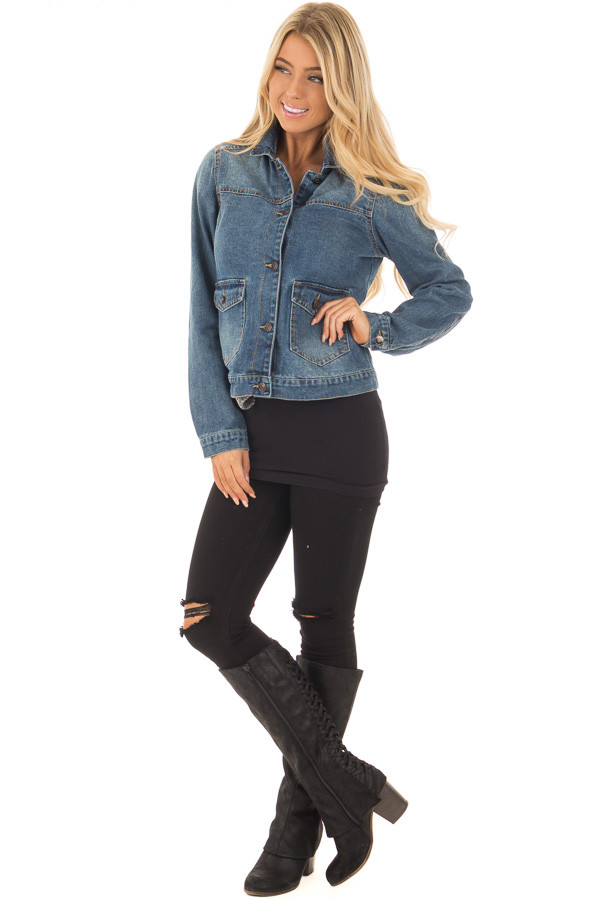 Denim Jacket with Sweater Contrast Neckline front full body