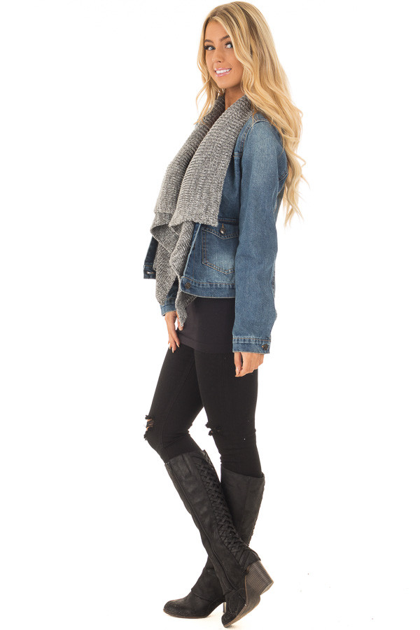 Denim Jacket with Sweater Contrast Neckline side full body