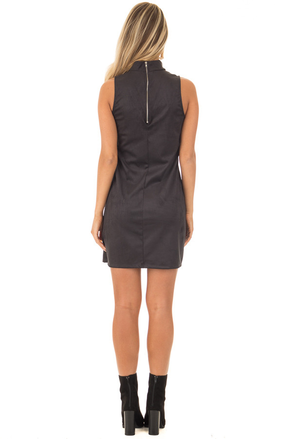 Black Faux Suede Dress with Cut Out V Neck back full body
