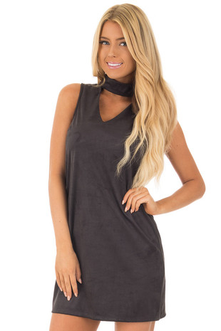 Black Faux Suede Dress with Cut Out V Neck front close up