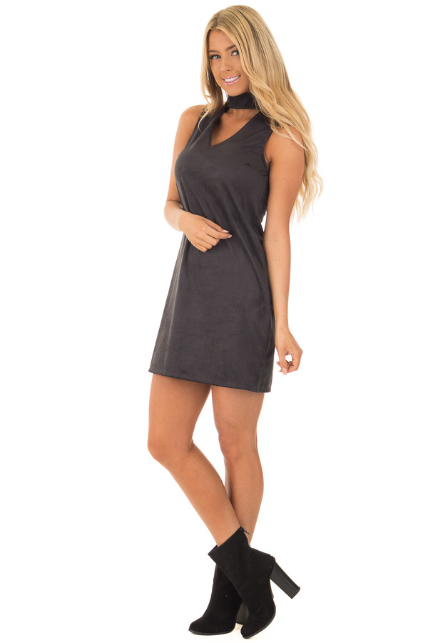 Black Faux Suede Dress with Cut Out V Neck front full body