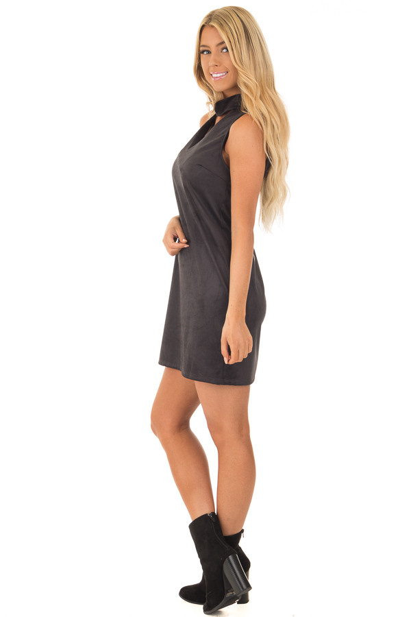 Black Faux Suede Dress with Cut Out V Neck side full body