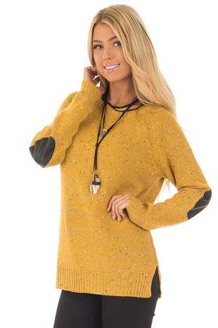 Mustard Sweater with Faux Leather Elbow Patches front close up