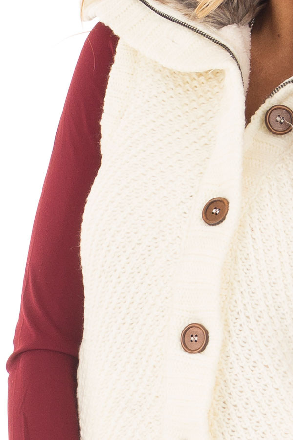 Ivory Sweater Vest with Faux Fur Lining and Collar detail