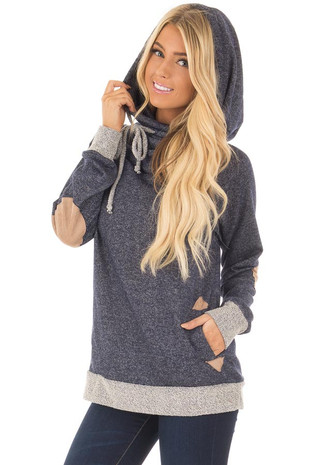Navy Hooded Sweater with Faux Suede Elbow Patches front close up
