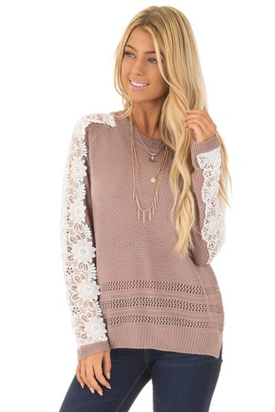 Mauve Long Sleeve Sweater with White Sheer Crochet Details front close up