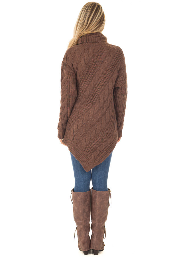 Chocolate Chunky Knit Asymmetrical Turtleneck Sweater back full body