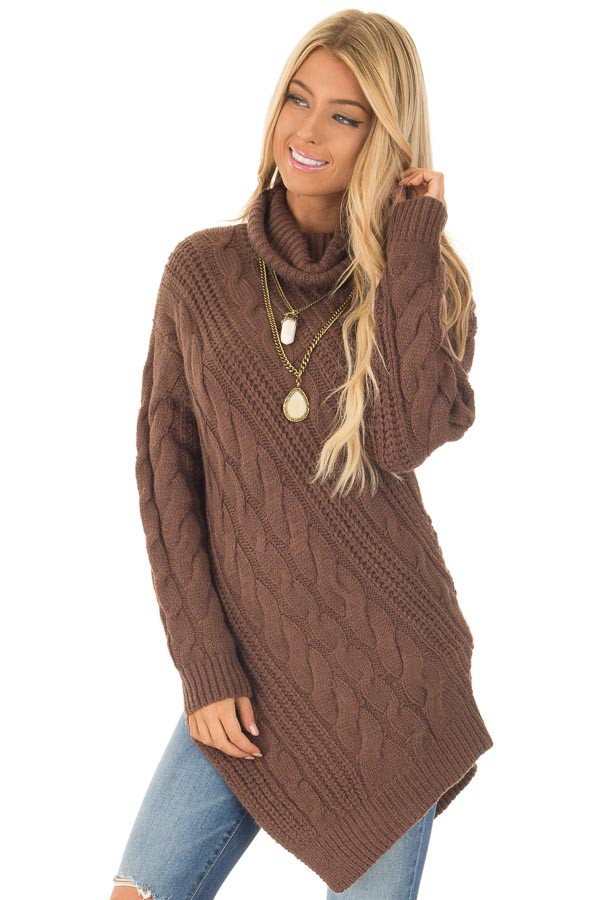 Chocolate Chunky Knit Asymmetrical Turtleneck Sweater - Lime Lush ...