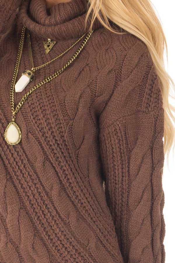 Chocolate Chunky Knit Asymmetrical Turtleneck Sweater detail