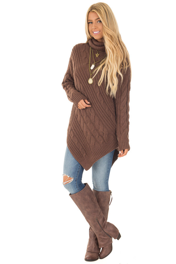 Chocolate Chunky Knit Asymmetrical Turtleneck Sweater front full body