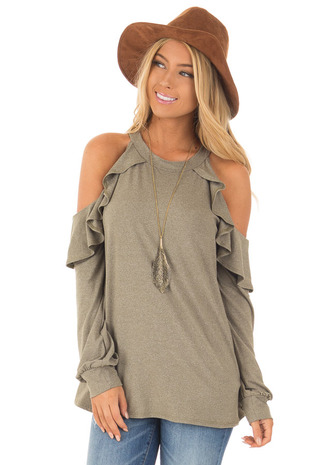 Olive Long Sleeve Cold Shoulder Ruffle Top front close up
