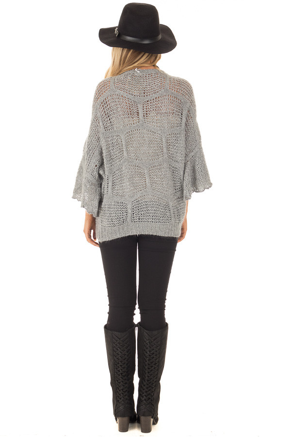 Charcoal Loose Knit Bell Sleeve Sweater back full body