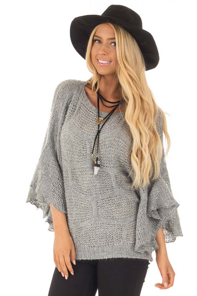 Charcoal Loose Knit Bell Sleeve Sweater front close up