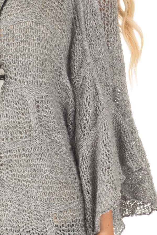 Charcoal Loose Knit Bell Sleeve Sweater detail