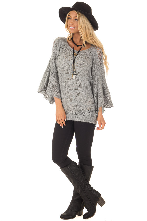 Charcoal Loose Knit Bell Sleeve Sweater front full body