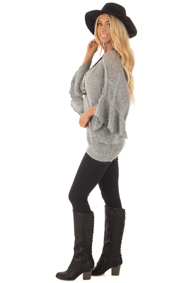 Charcoal Loose Knit Bell Sleeve Sweater side full body