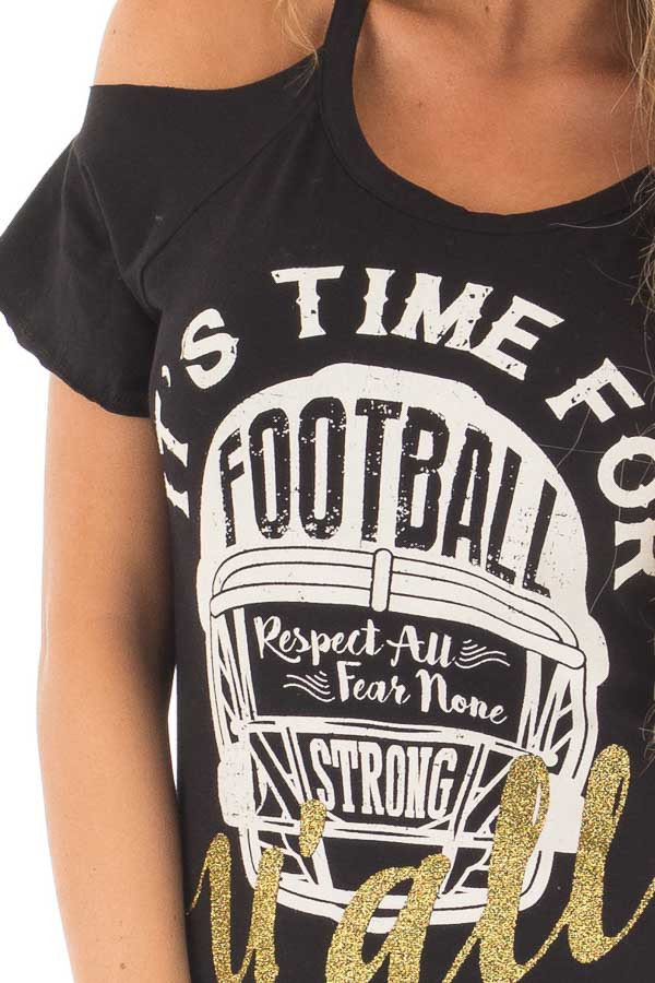Black 'It's Time For Football Y'all' Top detail