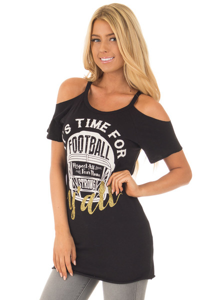 Black 'It's Time For Football Y'all' Top front close up