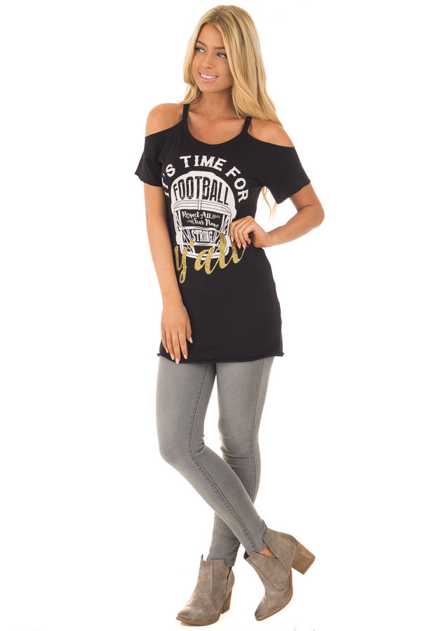 Black 'It's Time For Football Y'all' Top front full body
