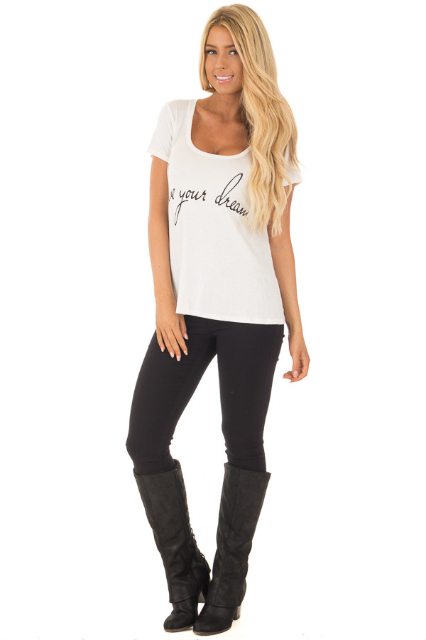 Ivory 'Live Your Dreams' Top front full body